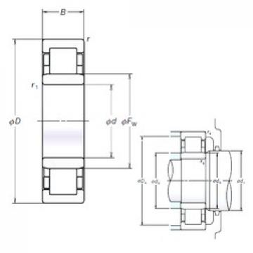 NSK NU308EM cylindrical roller bearings
